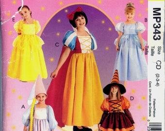 Part Cut Size 2 3 4 Childs Snow White Belle Rapunzel Cinderella Witch McCalls M 343 2856 Sewing Pattern Costume Halloween