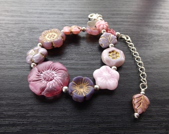 Pink Bits and Bobs Czech Glass Flower Bracelet
