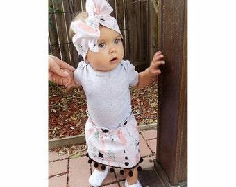 Boho baby feather skirt - pompom skirt - high waisted skirt - slim fit - handmade skirt - Bohemian - gold