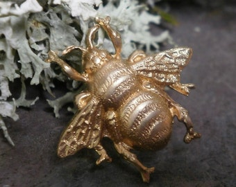 Raw Brass Stamping Baby Bumble Bee Bug