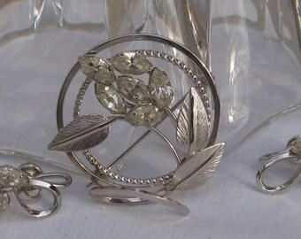 "Vintage ""Jewels by Dansal"" Boxed Set, Sterling Silver & Rhinestone Brooch and Matching Earrings, Demi Parure"