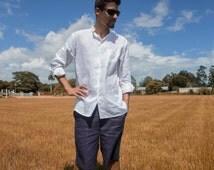 Men Linen Drawstring Shorts, Linen Shorts, Men Linen short, Navy, White Linen Drawstring Beach wear, Resort Wear, Bermuda, Short Pant #345