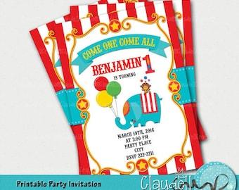 Circus Party Inspired Printable Birthday Invitation / Card - 300 DPI
