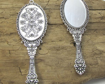 Miniature Hand Mirror Pendant, 70x26mm Single-Sided Antique Silver Hand Mirror, Necklace Pendant, Item 1080m