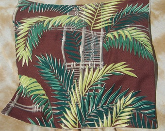 18x18 Vintage Mid Century Barkcloth Fabric Decorative Pillow Cover Pillow Case Dark Brown & Green