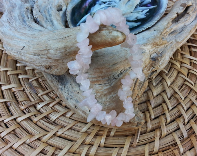 Rose Quartz stretchy bracelet ~ One Reiki infused gemstone chip bead bracelet approx 7 inches
