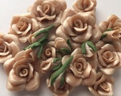 Champagne  Wedding Rose, Cabochon, Flower Bead, Flat back, Pack, Variety,chr501