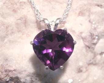 AMETHYST - Genuine Purple Heart-Shaped Amethyst Sterling Silver Necklace 2.69 carats! FREE SHIPPING!