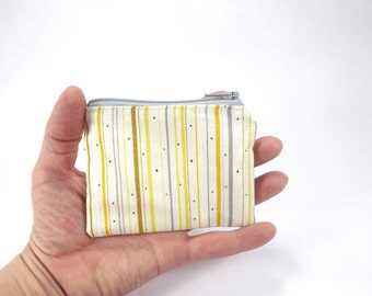 Yellow grey stripe zipper pouch, sunshine yellow card wallet, mustard yellow and cream bag, stripe cotton change purse, coin pouch