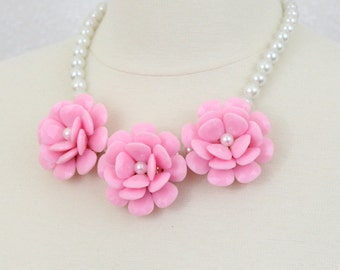 CLEARANCE Pink Rose Statement Necklace Flower Bib Necklace
