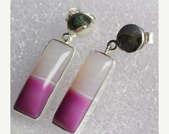 "SEASON SALE 1.18"" Pink Botswana Agate Gemstone Earrings 925 Sterling Silver Handmade Jewelry - 14-ri1122"