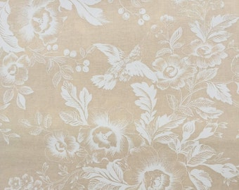 Cream on cream with flowers and birds MUSLIN MATES quilting fabric 9935-12