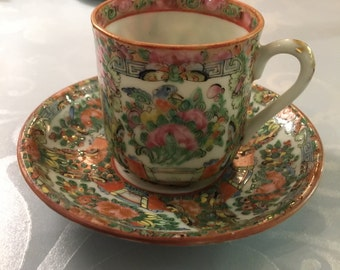 Rose Medallion Demitasse Cups and Saucers (8 each)