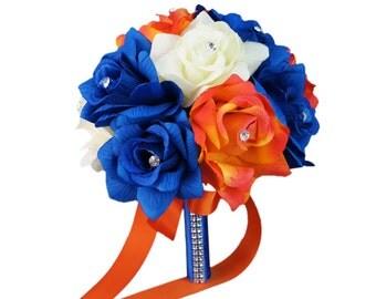 """8"""" Wedding Bouquet - Ivory, Royal Blue, Orange Artificial Rose Bouquet"""