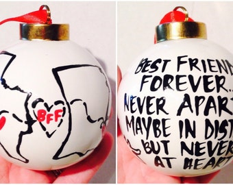 BFF Christmas 2 sided Ornament | Best Friends Christmas Gift | Stocking Stuffer | Best Friends Forever.Maybe in distance but never at heart.