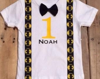 Batman Shirt - Batman Birthday Shirt - Personalized - Personalized Batman- Boys Batman Outfit - Birthday Tshirt Bow Tie