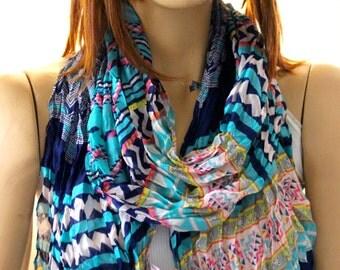 Tribal Chevron Soft Cotton  Scarf - Women Scarf scarves - Accessories - Colorfull scarf - Fashion Tribal scarves - aztec scarves - aztec