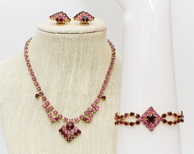 Pink and Red Rhinestone Parure - Necklace Earrings and Bracelet Set - Vintage 1950s Pink and Red Wedding Jewelry Set