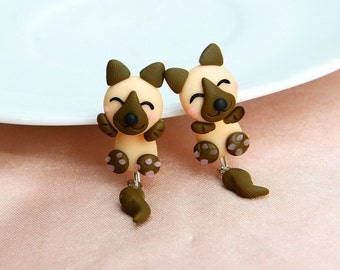 Dog Earrings Polymer Clay Hand Made Black/Brown/Pink 3D