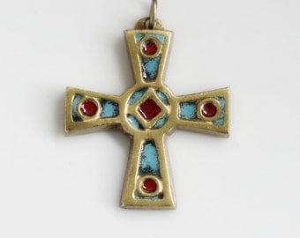 Bronze and enamel cross pendant
