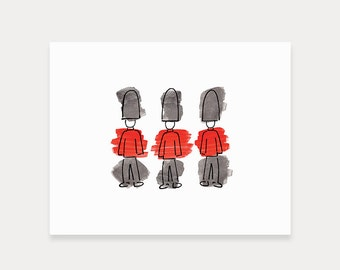 London Art Print // London guards, royal guards, London illustration, London prints, home decor, London gift, watercolor painting