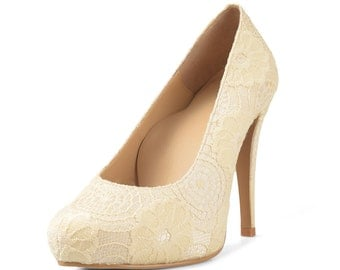 Marilyn Gold Lace Heels, Champagne Lace Platform Pumps, Gold Wedding Shoes, Lace Wedding Heels