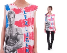 1993 Lex Luger Vintage WWF Wrester Cut Off Muscle Tank Rad Gift American Flag Blonde Mullet Collectors Item Unisex Clothing Large XL