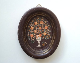Vintage German Wax Wall Hanging, Hand-painted Wall Decoration, Flowers, Bouquet