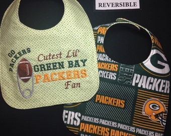 REVERSIBLE  Green Bay PACKERS inspired Baby Bib;Grandpa's Little Football Buddy;Football Diaper pin Embroidery, Papa's Buddy,Daddy's Buddy