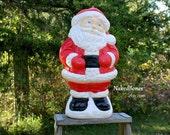 Blow Mold Santa - Grand Venture Plastic Christmas Decoration - Sweet Faced Santa - No Light Kit