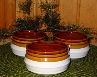Set of 3 White Crocks / Soup Crocks / White Crocks