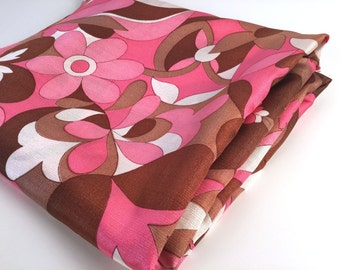 """Vintage 70s Fabric Yardage, Mod Floral, Brown, Blush Pink, White, Synthetic Blend, L 5 YDS, W 45"""", Sold as a Whole, Cheeky, Psychedelic"""