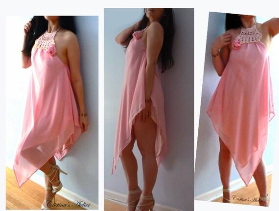 Chiffon rose crochet asymmetric dress- Halter pink chiffon dress- Handkerchief dress-Ocassion sexy women dress- Handmade crochet party dress