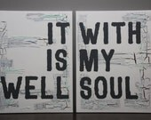 It Is Well With My Soul Rustic Farmhouse Wall Décor | Fixer Upper Wall Décor | Wall Art Canvas | Mint Green and Grey