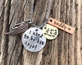 Memorial Necklace- I Used to be His Angel Now He's Mine- Valentine Gift for her -Hand Stamped- Remembrance - Father loss- Gift for her