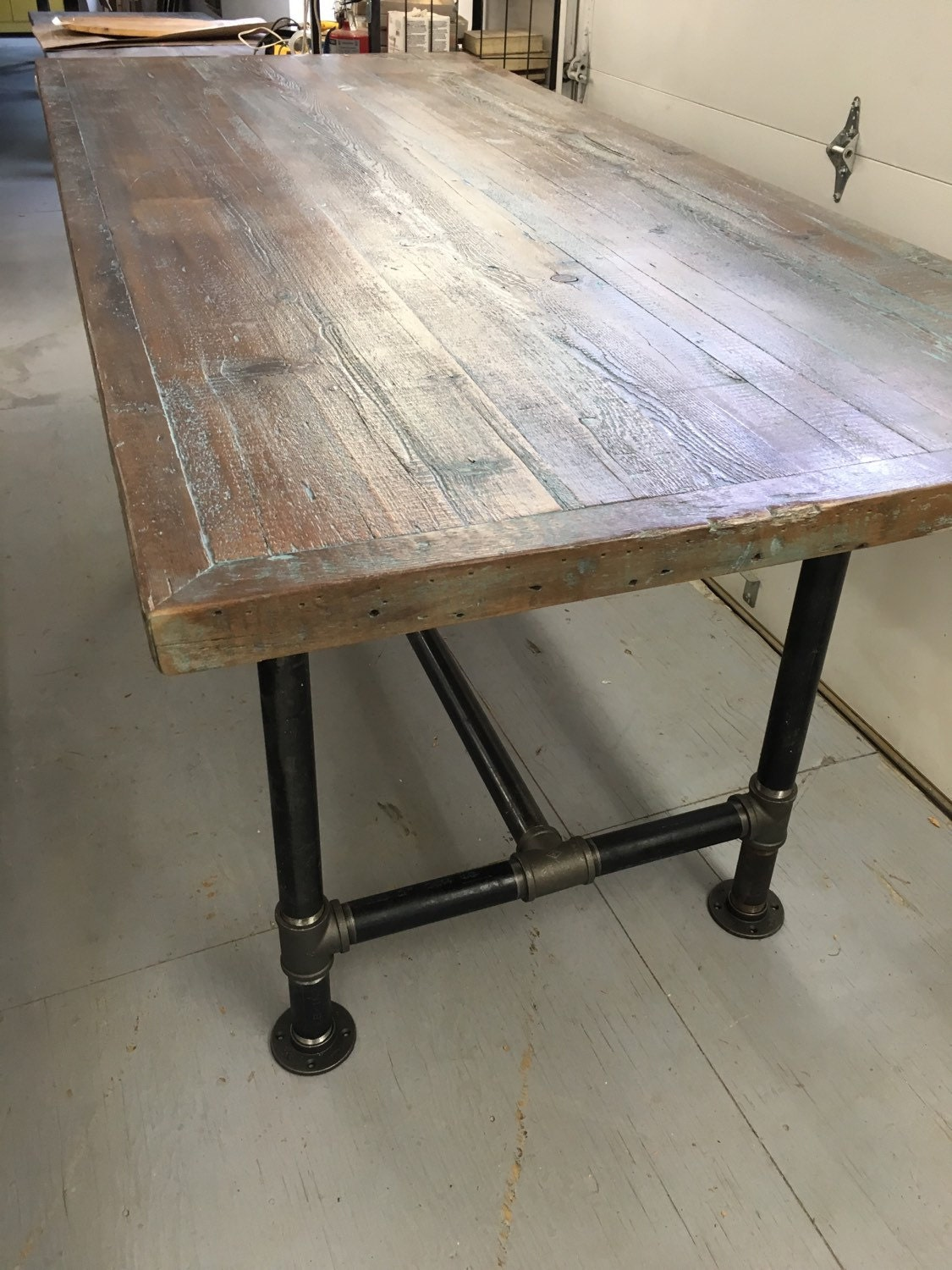Reclaimed wood dining table industrial pipe leg table 6 foot for One leg dining table