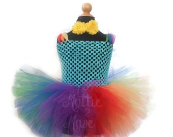Rainbow Tutu Dress with Matching Headband, Custom Easter Tutu Dress, Toddler Tutu Dress, Birthday Tutu Dress, Multicolored Tutu, Bright Tutu