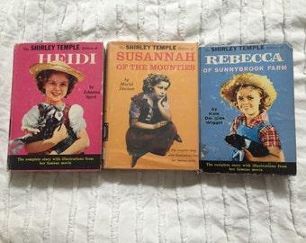 Set of 3 Shirley Temple Edition Books, Heidi, Susannah of the Mounties, Rebecca of Sunnybrook Farms