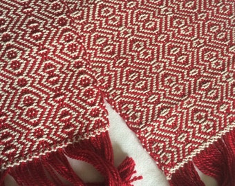 Handwoven Cotton Scarf - red and white double diamond