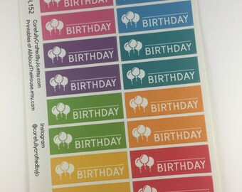 Happy Birthday Planner Stickers, Rainbow Sticker, Balloon, Party, Birthday, Erin Condren, Plum Paper, MAMBI, planner accessory