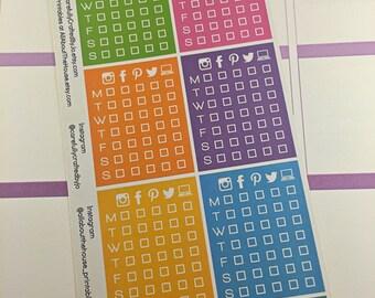 Social Media Tracker Planner Stickers, Rainbow Sticker, Life Planner, Header, Erin Condren, Plum Paper, MAMBI, planner accessory