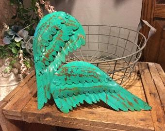 Mini distressed, rustic metal angel wings