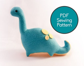 Dinosaur Plushie Pattern, PDF Sewing Pattern, Brontosaurus Sewing Pattern