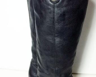 FRYE 76675 Melissa Black Leather Motorcycle Riding Biker Boots Women's Size 7.5