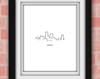 Boston Skyline Minimalist Print