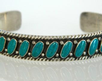 Native American Navajo Fred Harvey Era Turquoise Handmade Sterling Row Bracelet 1960