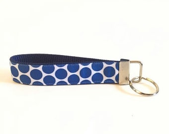 Navy Blue Polka Dot Personalized Key Fob