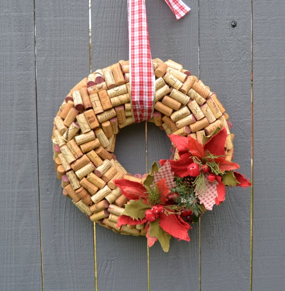 Christmas wine cork wreath ponstetia flower wine lover decor