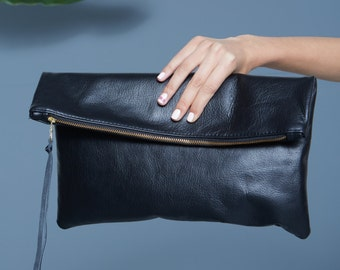 Black Leather Folded Clutch Handbag