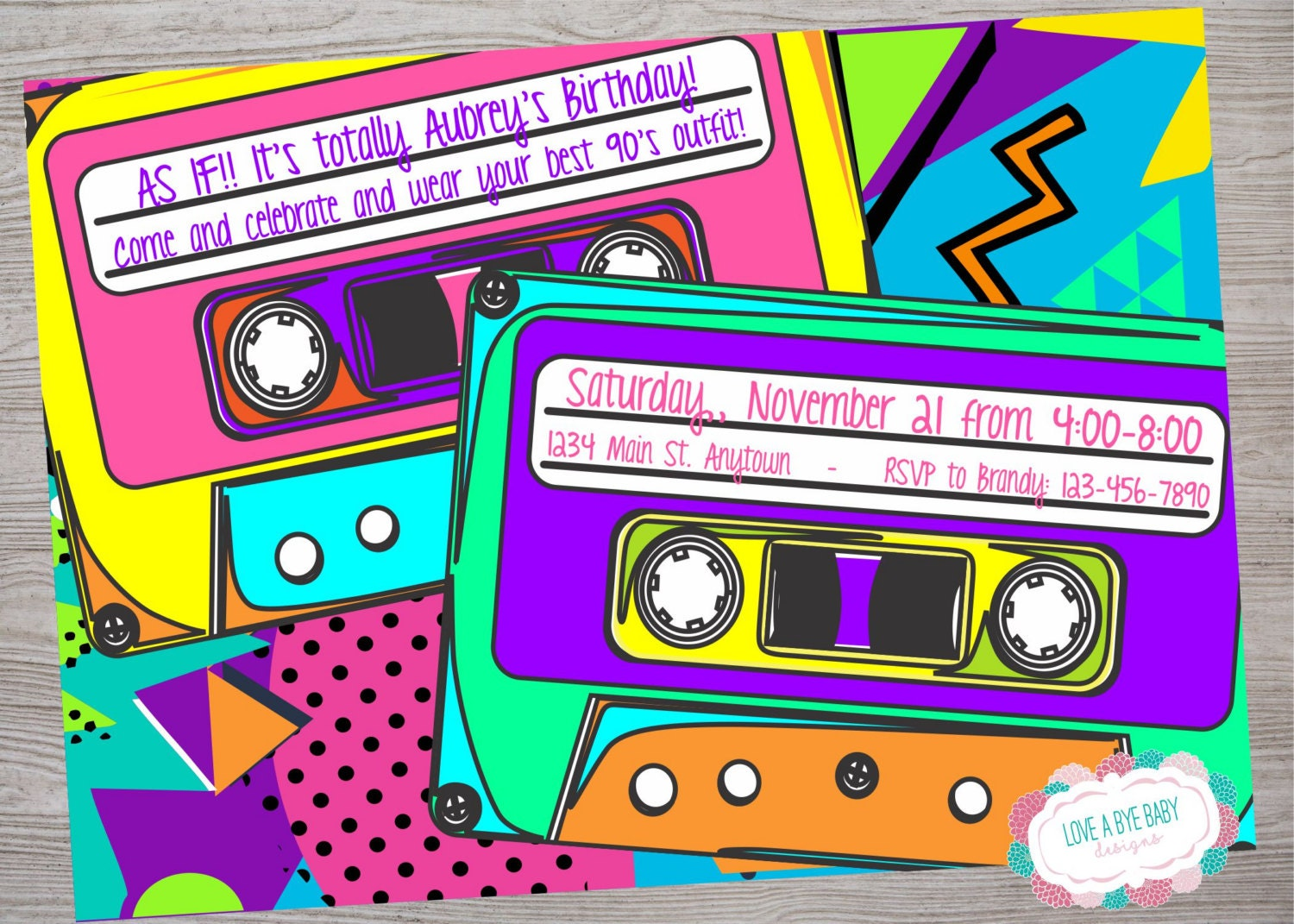90S Theme Party Invitations - Amazing Invitation Template Design ...